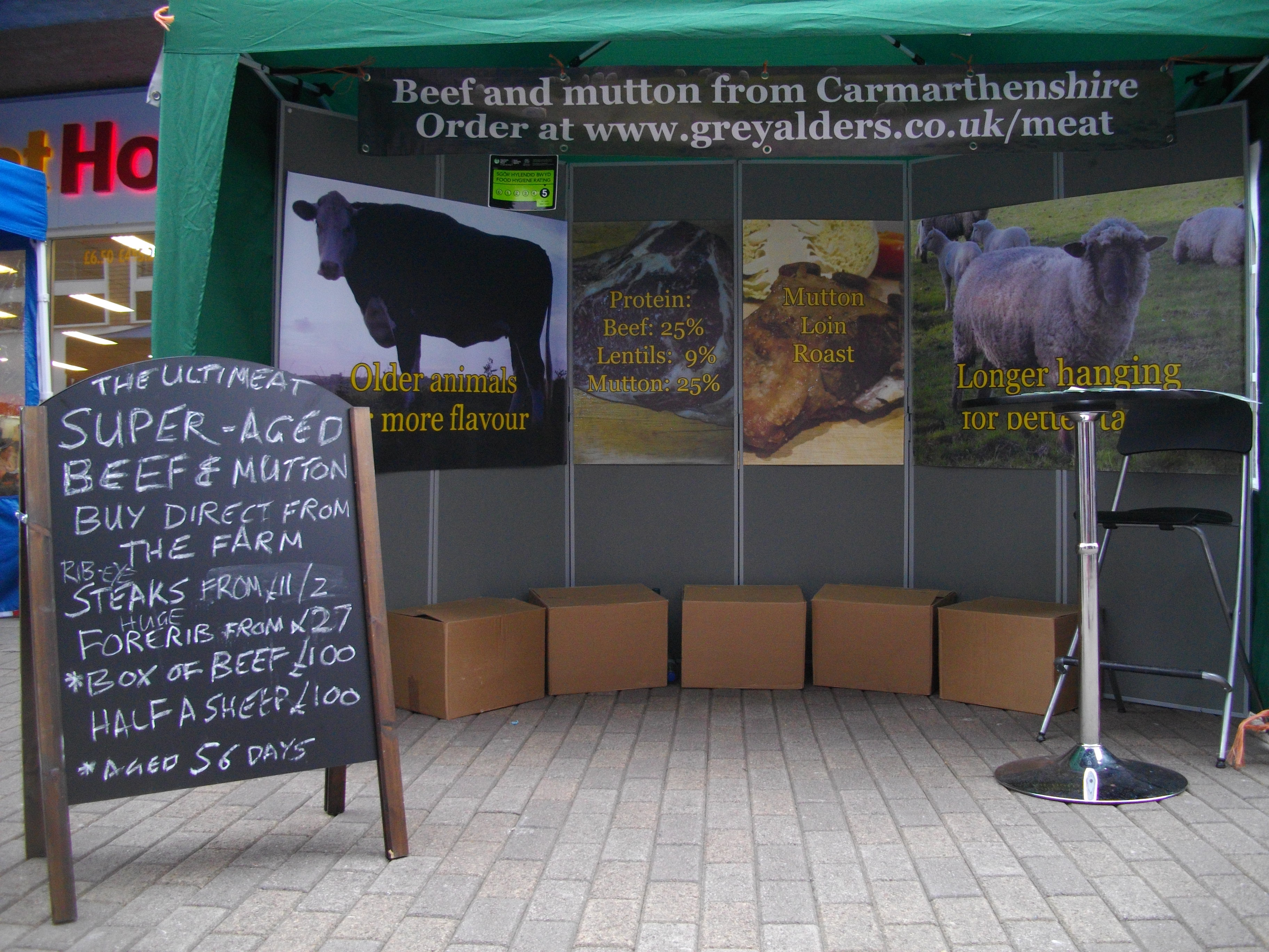 The stall complete with blackboard for special offers.